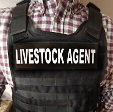 "3x10"" LIVESTOCK AGENT Black White Hook Back Patch for Plate Carrier Yellowstone"