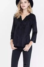 Women's Small Express Faux Suede Fringe Western 3/4 Sleeve Top New
