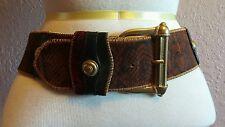 Linea Pelle Patchwork Italy Leather Anthropologie Brass Buckle Belt M boho gypsy