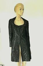 NWOT TAHARI BLACK BROCADE FITTED EVENING COAT SIZE 2