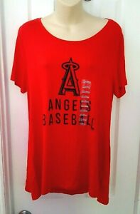 Los Angeles Angels Womens Top Size Medium Red Knit Shirt Stretchy Baseball New