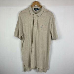 Ralph Lauren Mens Polo Shirt Size L Large Beige Short Sleeve Collared Made USA