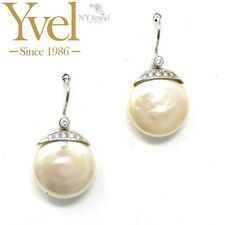 NYJEWEL Yvel Platinum Natural Biwa Pearl Diamond Earrings