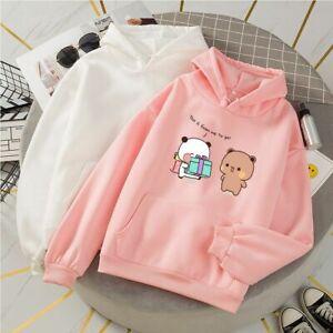 Kawaii Loose Hoodie Oversized Cute Bear Printed Sweaters Casual Warm Sweatshirts