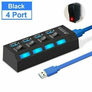 4 7 Port USB Hub Multi Splitter Expansion Power Adapter High Speed For Laptop PC
