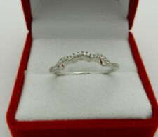 Anniversary 14k White Gold Natural Diamonds Curved Guard Wedding Band Ring