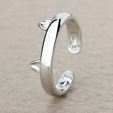 Silver Plated Adjustable Size Cat Ear Ring Design Cute Cat Ring Band