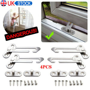 4PCS Security Window Restrictor Child Baby Safety Locks Catch Door Ventilator UK