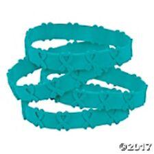 Cancer Awareness Teal Ribbon POP OUT Bracelets  Set of 24 Female Cancers