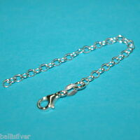 """Sterling Silver 925 4"""" CHAIN EXTENDER with Lobster Claw Clasp - Genuine Silver"""