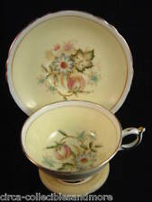 Paragon Tea Cup Saucer Double Mark Vintage Floral Pattern Light Yellow 1940s