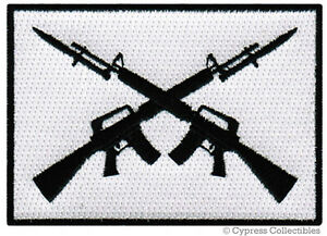 CROSSED RIFLE MORALE PATCH iron-on embroidered EMBLEM 2A FLAG GUN RIGHTS