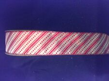 """2.5"""" Wired Edge Red and White Candy Cane Glitter Christmas Ribbon by the Yard"""