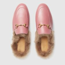 Brand New 100% Authentic Pink Gucci Princetown Leather Mule With Fur Size 36