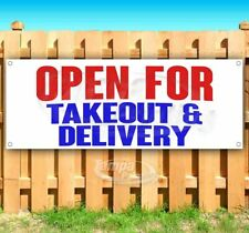 Open For Takeout Amp Delivery Advertising Vinyl Banner Flag Sign Sizes Restaurant