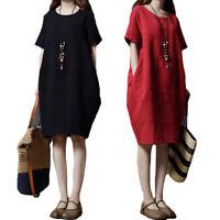 Womens Short Sleeve O Neck Cotton Linen Mini Pockets Solid Loose Dress Plus Size