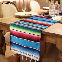 Mexican Serape Table Runner Fringe Cotton Tablecloth Fiesta Party Table Decor