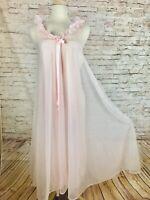 Vintage Pink Movie Star Full Chiffon Nylon Lace Ruffle Nightgown Nightie S
