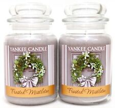 NEW Yankee Candle Lot Of 2 - 22oz/ 623g Frosted Mistletoe Large Jar Candles