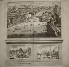 incisione stampa antica Piazza di Spagna roma Deseine 1704 engraving kupferstich