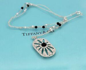 Tiffany & Co. 925 Silver Ziegfeld Black Onyx Pearl Daisy Necklace