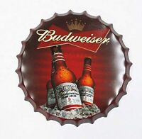 Budweiser Decorative Bottle Cap Metal Tin Sign Beer Bar Decoration 13""