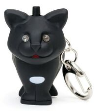 Black CAT Key Chain with Super Bright  Blue LED light & Meowing Sound!