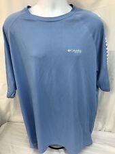 Columbia PFG Men's Medium T-Shirt Light Blue Omni Shade Fishing Shirt EUC
