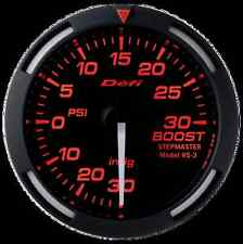 DEFI RED RACER 52MM BOOST GAUGE W/ WHITE NEEDLE -30INHG TO +30PSI