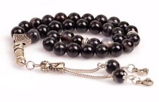 REAL Black Agate Stone Islamic Prayer 33 beads Tasbih Misbaha Rosary Tasbeeh