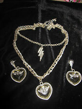 BETSEY JOHNSON BLACK LABEL RARE LUCITE HEART W/ SKULL/ WINGS NECKLACE EARRINGS