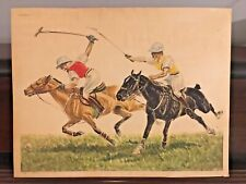 Polo Signed Equestrian Etching By Louis Claude Paris Etching Society 24X19 AS IS