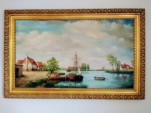 Large Original Antique Oil on Canvas Painting