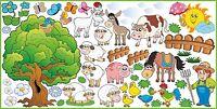 Sticker Autocollant muraux FERME ANIMAUX chevaux vaches animaux chien chat SET 1