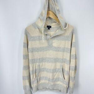 J Crew Women's Size Medium Pullover Hoodie Sweatshirt Gray White Striped Button