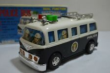 RARE Vintage Yonezawa NOS Japan Battery Operated Police Bus - Works