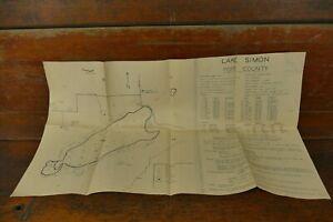 Vintage Original 1949 Lake Simon Pope County Minnesota Survey Map