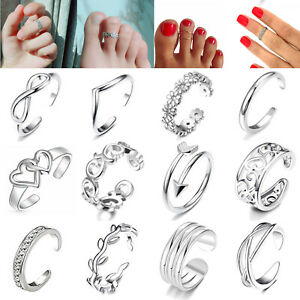 12Pcs/set Sterling Silver Fashion Simple Toe Ring Adjustable Foot Beach Jewelry