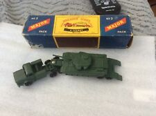 VINTAGE DIECAST LESNEY MATCHBOX MAJOR PACK M3 MIGHTY ANTAR TANK TRANSPORTER BOX