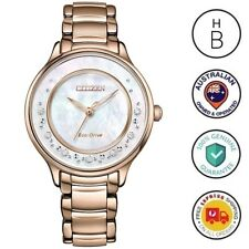 New Citizen Eco-Drive Ladies Rose Gold Tone Diamond Set Watch EM0382-86D 51D(AU)