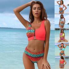 Women's Sexy Bikini Sets Leopard Buckle Front Bathing Suit Two Pieces Beachwear