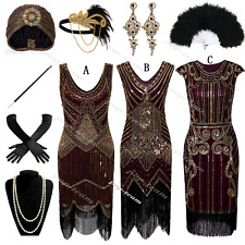 Deluxe 1920s Flapper Costume Gatsby Formal Evening Club Cocktail Dress Plus Size