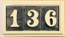 House number plaque outdoor address. Weatherproof - handmade tiles. Applewood