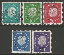 GERMANY-BERLIN. 1959. President Heuss Definitive Set. SG: B178/82. Fine Used.