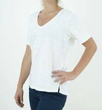 Womens Fat Face Top White Vee Neck Layla Summer Linen T-Shirt