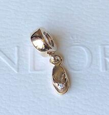 Genuine New Pandora 14ct Gold Diamond Dangle Slipper Charm 750443D