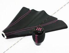 JDM M10 X 1.5 BLACK LEATHER SHIFT KNOB W/ PINK STITCHING+ LEATHER BOOT FOR HONDA