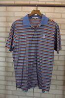 Peter Millar Mens Golf Polo Shirt Size M Medium Striped Short Sleeve S/S Blue