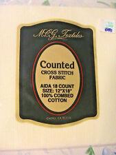 "ANTIQUE WHITE 18c 12"" x 18"" 100% quality cotton MCG TEXTILES cross stitch fabric"