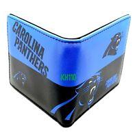 NFL Carolina Panthers Men's Printed Logo Leather Bi-Fold Wallet